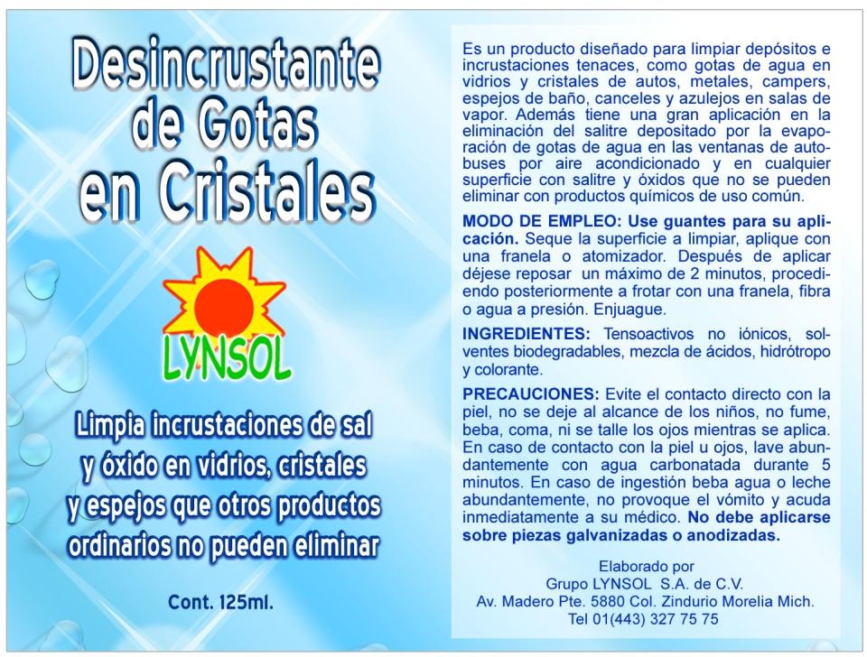 DESINCRUSTANTE DE GOTAS EN CRISTALES
